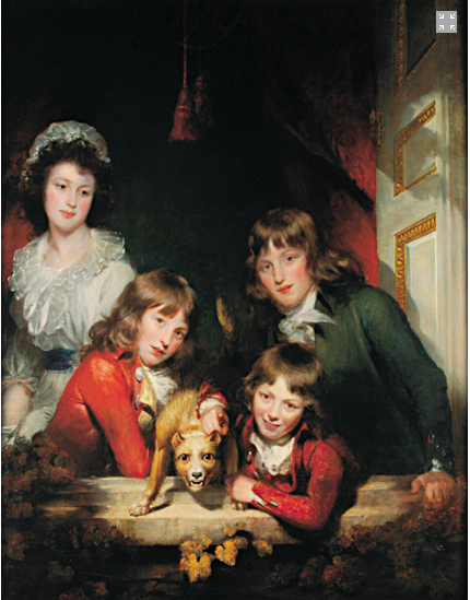Painted by Sir William Beechey. Children of the 1st Earl of Carnarvon, 1795