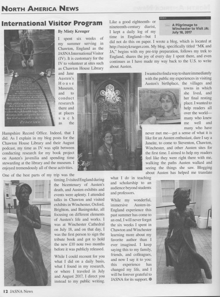 Misty Krueger - International Vistor - JASNA Newsletter